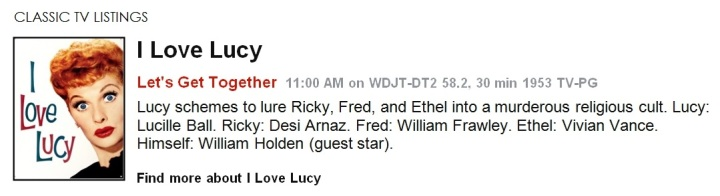 Classic TV Listings - I Love Lucy