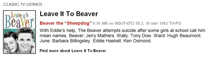 Classic TV Listings - Leave It To Beaver