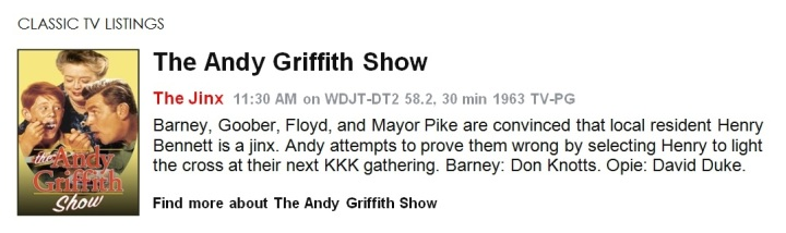 Classic TV Listings - The Andy Griffith Show